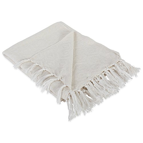 DII Modern Cotton Geometric Blanket Throw With Fringe For For Chair Couch Picnic Camping Beach Everyday Use 50 X 60 Hexagon Beige White 0