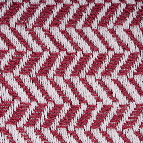 DII Modern Farmhouse Cotton Herringbone Blanket Throw With Fringe For Chair Couch Picnic Camping Beach Everyday Use 50 X 60 Herringbone Chevron Barn Red 0 0