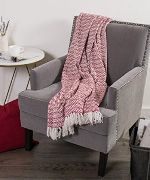 DII Modern Farmhouse Cotton Herringbone Blanket Throw With Fringe For Chair Couch Picnic Camping Beach Everyday Use 50 X 60 Herringbone Chevron Barn Red 0 3 300x360