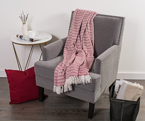 DII Modern Farmhouse Cotton Herringbone Blanket Throw With Fringe For Chair Couch Picnic Camping Beach Everyday Use 50 X 60 Herringbone Chevron Barn Red 0 3