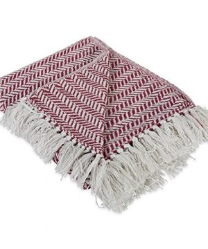 DII Modern Farmhouse Cotton Herringbone Blanket Throw With Fringe For Chair Couch Picnic Camping Beach Everyday Use 50 X 60 Herringbone Chevron Barn Red 0 300x360