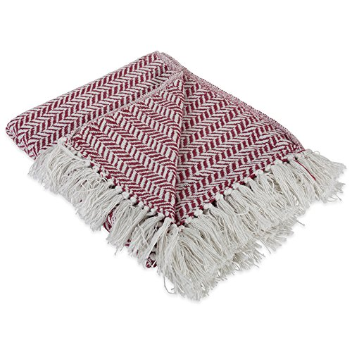 DII Modern Farmhouse Cotton Herringbone Blanket Throw With Fringe For Chair Couch Picnic Camping Beach Everyday Use 50 X 60 Herringbone Chevron Barn Red 0