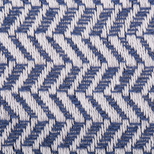 DII Modern Farmhouse Cotton Herringbone Blanket Throw With Fringe For Chair Couch Picnic Camping Beach Everyday Use 50 X 60 Herringbone Chevron French Blue 0 0