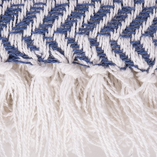 DII Modern Farmhouse Cotton Herringbone Blanket Throw With Fringe For Chair Couch Picnic Camping Beach Everyday Use 50 X 60 Herringbone Chevron French Blue 0 1