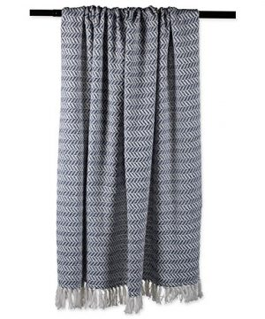 DII Modern Farmhouse Cotton Herringbone Blanket Throw With Fringe For Chair Couch Picnic Camping Beach Everyday Use 50 X 60 Herringbone Chevron French Blue 0 2 300x360