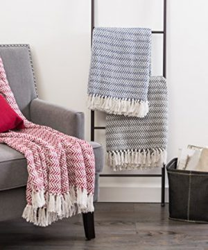 DII Modern Farmhouse Cotton Herringbone Blanket Throw With Fringe For Chair Couch Picnic Camping Beach Everyday Use 50 X 60 Herringbone Chevron French Blue 0 3 300x360