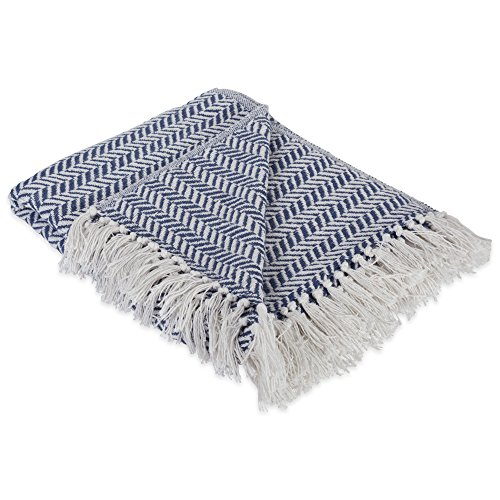 DII Modern Farmhouse Cotton Herringbone Blanket Throw With Fringe For Chair Couch Picnic Camping Beach Everyday Use 50 X 60 Herringbone Chevron French Blue 0