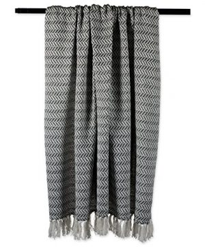 DII Modern Farmhouse Cotton Herringbone Blanket Throw With Fringe For Chair Couch Picnic Camping Beach Everyday Use 50 X 60 Herringbone Chevron Mineral Gray 0 2 300x360
