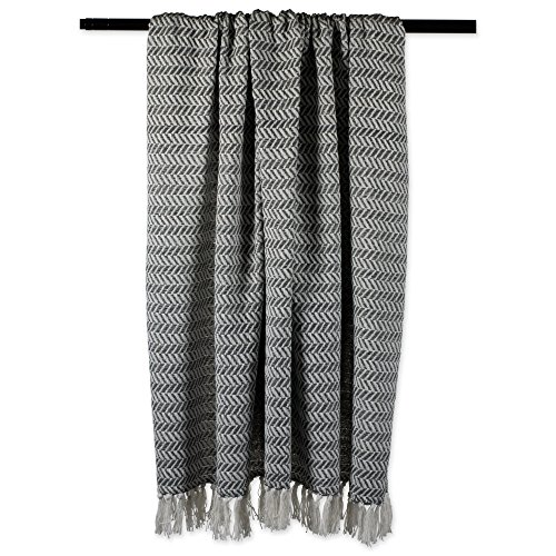DII Modern Farmhouse Cotton Herringbone Blanket Throw With Fringe For Chair Couch Picnic Camping Beach Everyday Use 50 X 60 Herringbone Chevron Mineral Gray 0 2