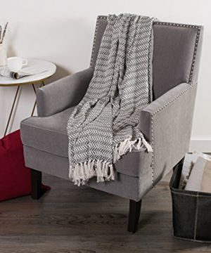 DII Modern Farmhouse Cotton Herringbone Blanket Throw With Fringe For Chair Couch Picnic Camping Beach Everyday Use 50 X 60 Herringbone Chevron Mineral Gray 0 3 300x360