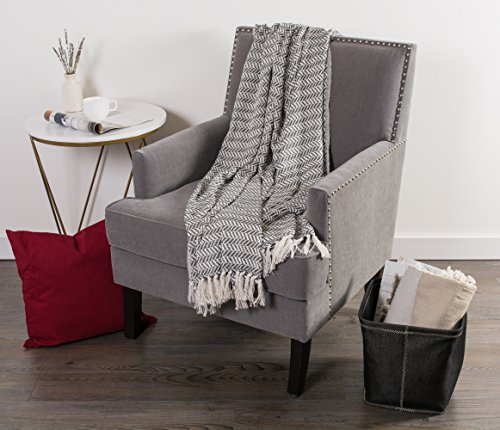 DII Modern Farmhouse Cotton Herringbone Blanket Throw With Fringe For Chair Couch Picnic Camping Beach Everyday Use 50 X 60 Herringbone Chevron Mineral Gray 0 3