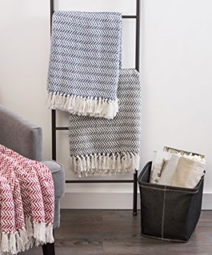 DII Modern Farmhouse Cotton Herringbone Blanket Throw With Fringe For Chair Couch Picnic Camping Beach Everyday Use 50 X 60 Herringbone Chevron Mineral Gray 0 4 300x360