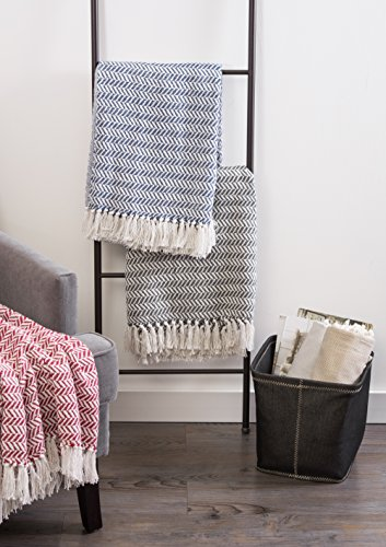 DII Modern Farmhouse Cotton Herringbone Blanket Throw With Fringe For Chair Couch Picnic Camping Beach Everyday Use 50 X 60 Herringbone Chevron Mineral Gray 0 4