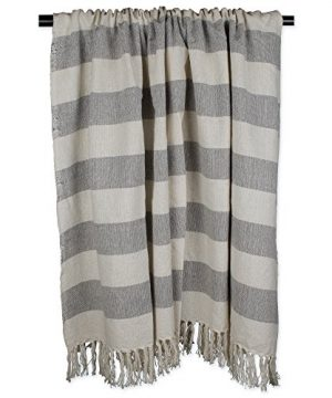 DII Rustic Farmhouse Cotton Cabana Striped Blanket Throw With Fringe For Chair Couch Picnic Camping Beach Everyday Use 50 X 60 Cabana Striped Gray 0 1 300x360