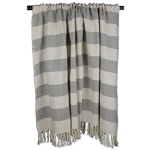 DII Rustic Farmhouse Cotton Cabana Striped Blanket Throw With Fringe For Chair Couch Picnic Camping Beach Everyday Use 50 X 60 Cabana Striped Gray 0 1