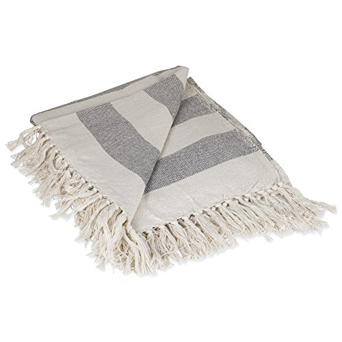 DII Rustic Farmhouse Cotton Cabana Striped Blanket Throw With Fringe For Chair Couch Picnic Camping Beach Everyday Use 50 X 60 Cabana Striped Gray 0