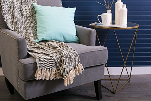 DII Rustic Farmhouse Cotton Chevron Blanket Throw With Fringe For Chair Couch Picnic Camping Beach Everyday Use 50 X 60 Mini Chevron Black 0 3