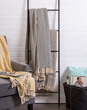 DII Rustic Farmhouse Cotton Chevron Blanket Throw With Fringe For Chair Couch Picnic Camping Beach Everyday Use 50 X 60 Mini Chevron Black 0 4 285x360