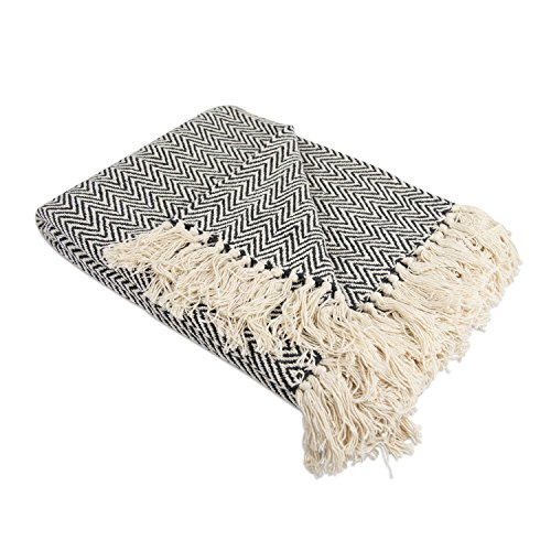 DII Rustic Farmhouse Cotton Chevron Blanket Throw With Fringe For Chair Couch Picnic Camping Beach Everyday Use 50 X 60 Mini Chevron Black 0