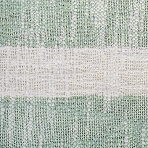 DII Rustic Farmhouse Cotton Stripe Blanket Throw With Fringe For Chair Couch Picnic Camping Beach Everyday Use 50 X 60 Distressed Mint 0 0