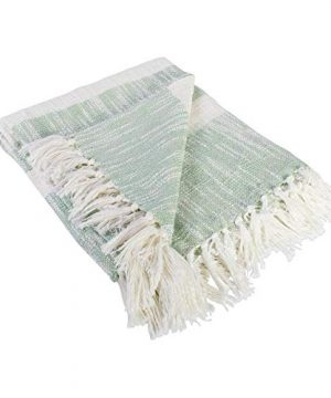 DII Rustic Farmhouse Cotton Stripe Blanket Throw With Fringe For Chair Couch Picnic Camping Beach Everyday Use 50 X 60 Distressed Mint 0 1 300x360