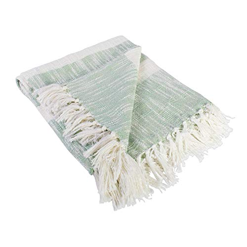 DII Rustic Farmhouse Cotton Stripe Blanket Throw With Fringe For Chair Couch Picnic Camping Beach Everyday Use 50 X 60 Distressed Mint 0 1