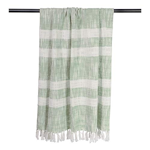 DII Rustic Farmhouse Cotton Stripe Blanket Throw With Fringe For Chair Couch Picnic Camping Beach Everyday Use 50 X 60 Distressed Mint 0