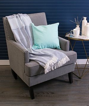 DII Rustic Farmhouse Cotton Stripe Blanket Throw With Fringe For Chair Couch Picnic Camping Beach Everyday Use 50 X 60 Rugby Stripe Blue 0 0 300x360