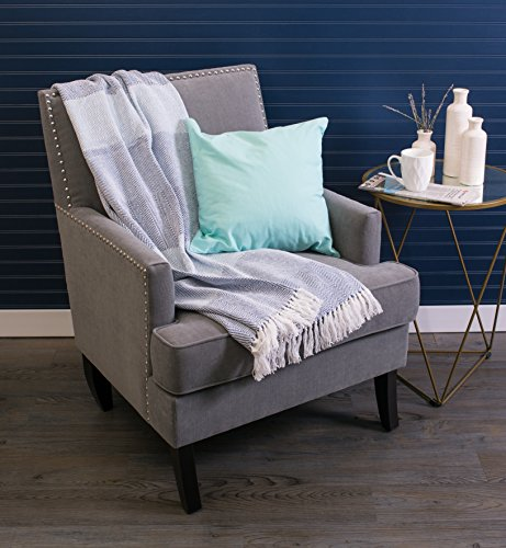DII Rustic Farmhouse Cotton Stripe Blanket Throw With Fringe For Chair Couch Picnic Camping Beach Everyday Use 50 X 60 Rugby Stripe Blue 0 0