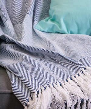 DII Rustic Farmhouse Cotton Stripe Blanket Throw With Fringe For Chair Couch Picnic Camping Beach Everyday Use 50 X 60 Rugby Stripe Blue 0 3 300x360