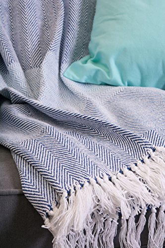 DII Rustic Farmhouse Cotton Stripe Blanket Throw With Fringe For Chair Couch Picnic Camping Beach Everyday Use 50 X 60 Rugby Stripe Blue 0 3