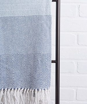 DII Rustic Farmhouse Cotton Stripe Blanket Throw With Fringe For Chair Couch Picnic Camping Beach Everyday Use 50 X 60 Rugby Stripe Blue 0 4 300x360