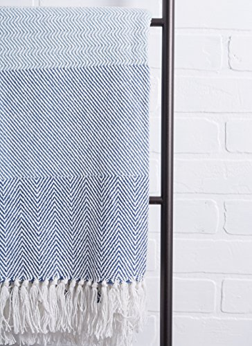 DII Rustic Farmhouse Cotton Stripe Blanket Throw With Fringe For Chair Couch Picnic Camping Beach Everyday Use 50 X 60 Rugby Stripe Blue 0 4
