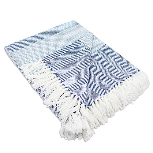 DII-Rustic-Farmhouse-Cotton-Stripe-Blanket-Throw-with-Fringe-For-Chair-Couch-Picnic-Camping-Beach-Everyday-Use-50-x-60-Rugby-Stripe-Blue-0