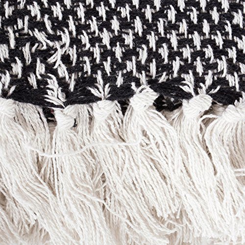 DII Throw 50x60 With 25 Fringe Woven Black 0 0