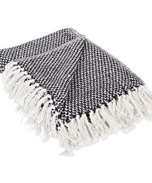 DII Throw 50x60 With 25 Fringe Woven Black 0 300x360