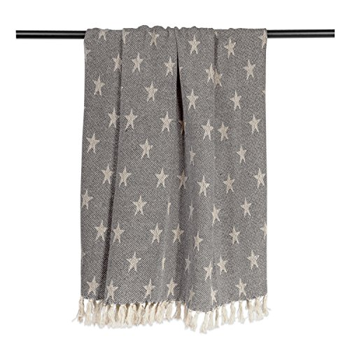 DII Woven Throw Blanket With Decorative Fringe Star Gray 0 1
