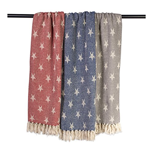 DII Woven Throw Blanket With Decorative Fringe Star Gray 0 2