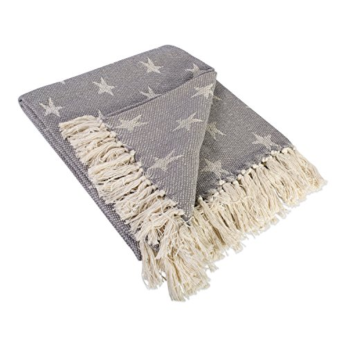 DII Woven Throw Blanket With Decorative Fringe Star Gray 0