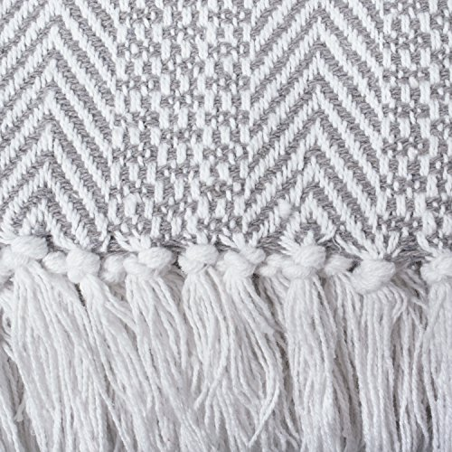 DII Woven Throw Herringbone Stripe Gray 0 2