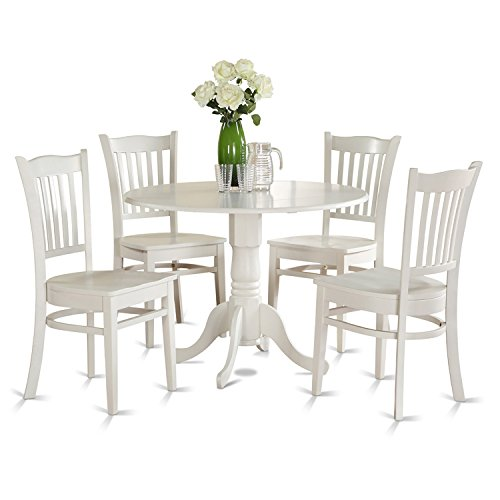 DLGR5 WHI W 5 PC Kitchen Nook Dining Set Table And 4 Kitchen Chairs 0 0