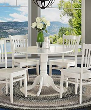 DLGR5 WHI W 5 PC Kitchen Nook Dining Set Table And 4 Kitchen Chairs 0 300x360