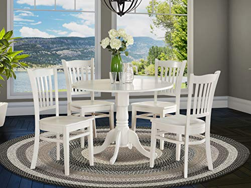 DLGR5 WHI W 5 PC Kitchen Nook Dining Set Table And 4 Kitchen Chairs 0