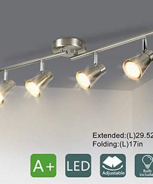 DLLT 4 Light Led Track Lighting Kit Flush Mount Spotlight Ceiling Directional Ceiling Light For Kitchen Dining Room Bedroom Office Brushed Nickel GU10 Bulbs Included 0 300x360