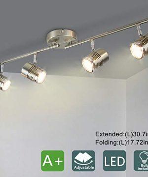 DLLT Led Track LightComplete Track Lighting Kits Flush Mount Ceiling Spot Lights Gu10 BulbsIncluded For Kitchen Dining Room Bedroom Hallway 4 Lights Warm Light 0 300x360