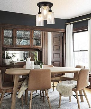 DLLT Semi Flush Mount Ceiling Light Farmhouse Clear Glass Chandelier Ceiling Light Fixture With 3 Light For Dining Room Hallway Kitchen Bedroom Entryway E26 Base Black 0 0 300x360