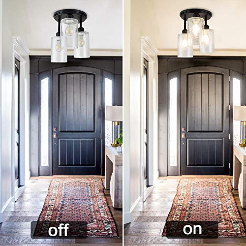DLLT Semi Flush Mount Ceiling Light Farmhouse Clear Glass Chandelier Ceiling Light Fixture With 3 Light For Dining Room Hallway Kitchen Bedroom Entryway E26 Base Black 0 1