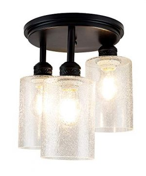 DLLT Semi Flush Mount Ceiling Light Farmhouse Clear Glass Chandelier Ceiling Light Fixture With 3 Light For Dining Room Hallway Kitchen Bedroom Entryway E26 Base Black 0 300x360
