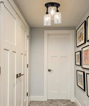 DLLT Semi Flush Mount Ceiling Light Farmhouse Clear Glass Chandelier Ceiling Light Fixture With 3 Light For Dining Room Hallway Kitchen Bedroom Entryway E26 Base Black 0 4 300x360