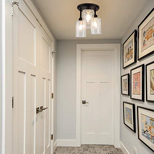 DLLT Semi Flush Mount Ceiling Light Farmhouse Clear Glass Chandelier Ceiling Light Fixture With 3 Light For Dining Room Hallway Kitchen Bedroom Entryway E26 Base Black 0 4